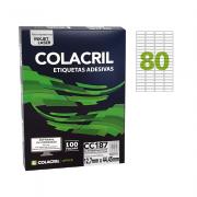 Etiqueta Carta 12,7mm x 44,45mm 100 Folhas CC187 Colacril