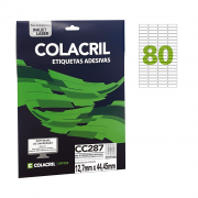 Etiqueta Carta 12,7mm x 44,45mm 25 Folhas CC287 Colacril