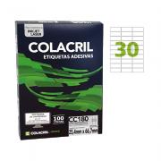 Etiqueta Carta 25,4mm x 66,7mm 100 Folhas CC180 Colacril