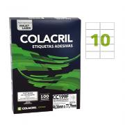 Etiqueta Carta 46,56mm x 77,79mm 100 Folhas CC199F Colacril
