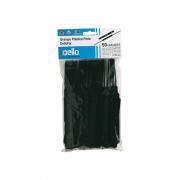 Grampo Trilho Plástico Preto 50 Unidades DelloFix