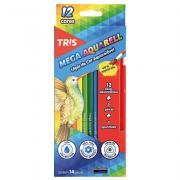 Lápis de Cor Aquarelável 12 Cores + Apontador + Pincel Mega Aquarell Tris