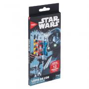 Lápis de Cor Star Wars 12 Cores Corpo Sextavado Tris