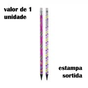 Lápis Estampado HB com Borracha Feminino BRW