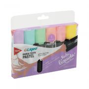 Marca-Texto Pastel Flat 6 Cores Liqeo Tris