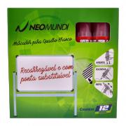Marcador para Quadro Branco Recarregável Vermelho 12 Unidades NeoMundi