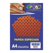 Papel Bolinha Metalizado A4 Marrom 120g 10 Folhas Off Paper