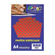 Papel Bolinha Metalizado A4 Vermelho 120g 10 Folhas Off Paper
