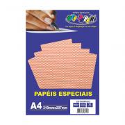 Papel Estampado A4 Vermelho com Bolinhas 180g 10 Folhas Off Paper