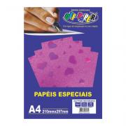 Papel Glitter Decorado A4 Rosa c/ Coração 150g 10 Folhas Off Paper