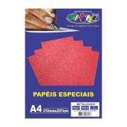 Papel Metalizado A4 Vermelho 150g 15 Folhas Off Paper