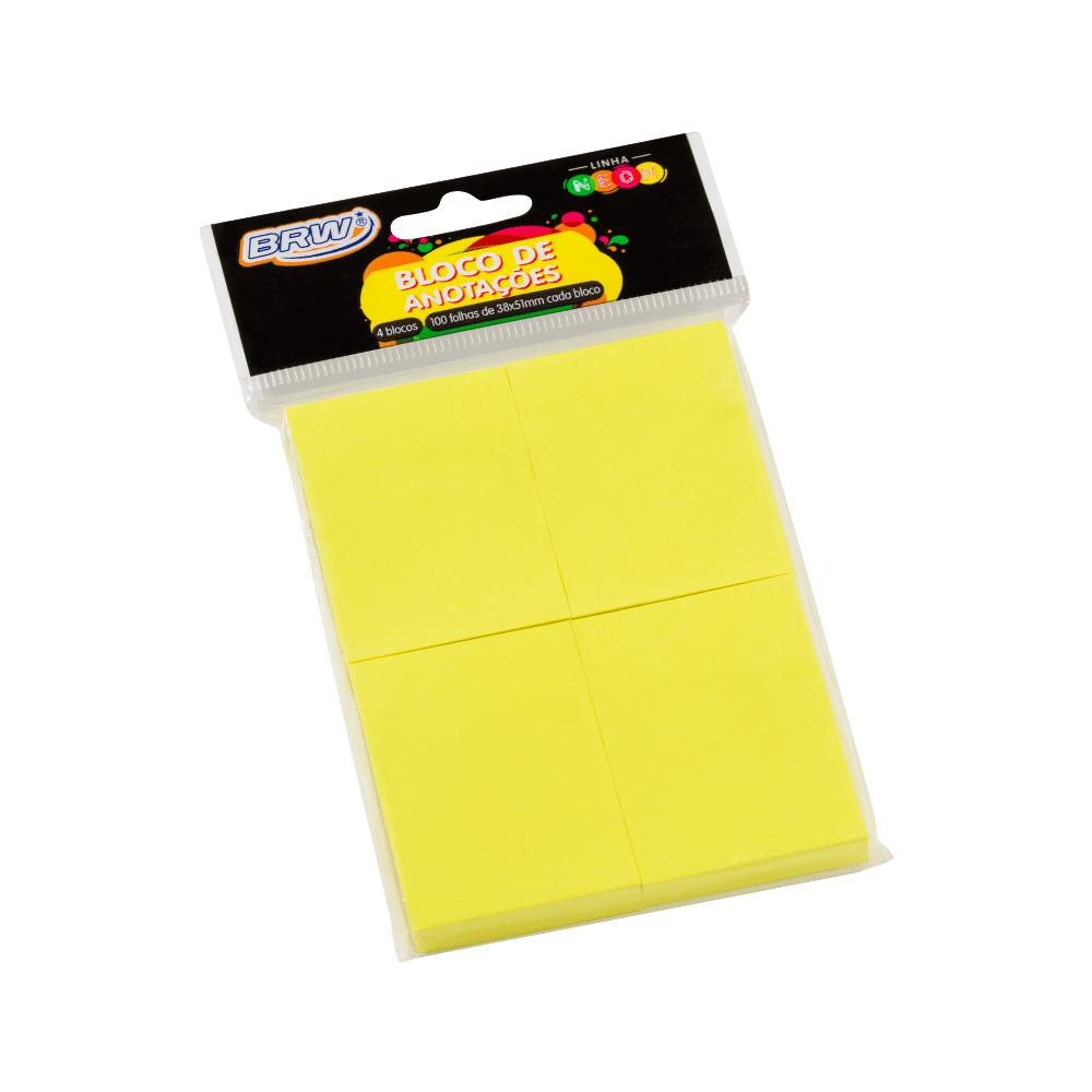Bloco Autoadesivo 38mm x 51mm Amarelo Neon 4 Blocos c/ 100 Folhas BRW