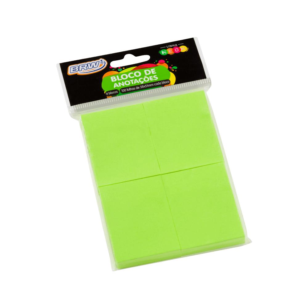 Bloco Autoadesivo 38mm x 51mm Verde Neon 4 Blocos c/ 100 Folhas BRW