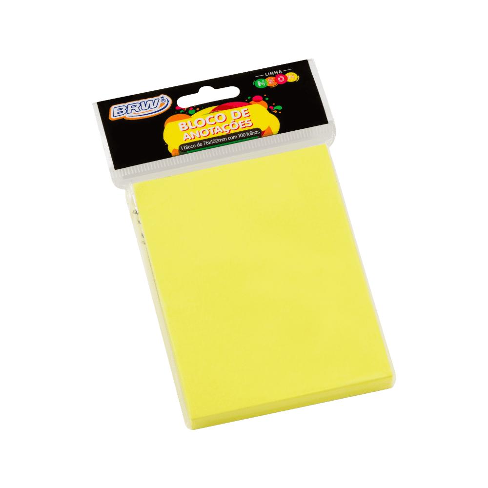 Bloco Autoadesivo 76mm x 102mm Amarelo Neon 100 Folhas BRW