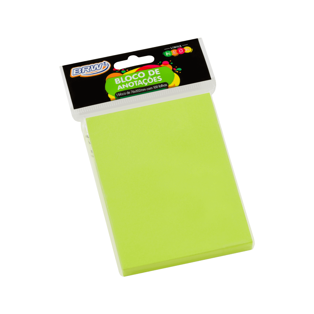 Bloco Autoadesivo 76mm x 102mm Verde Neon 100 Folhas BRW