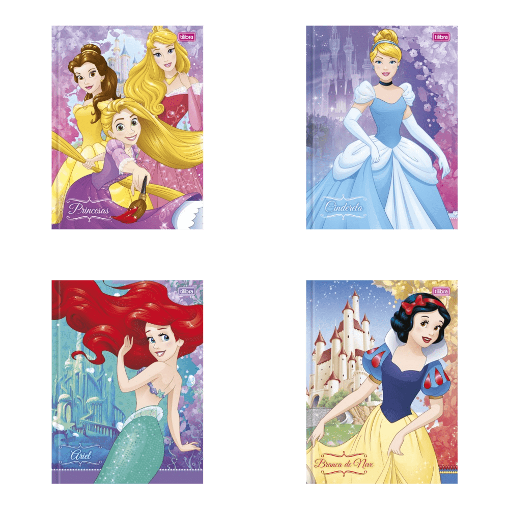 Caderno Brochura Capa Dura 1/4 Princesas 96 Folhas Tilibra