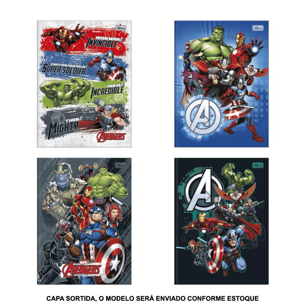 Caderno Brochura Capa Dura Universitário Avengers 80 Folhas Tilibra