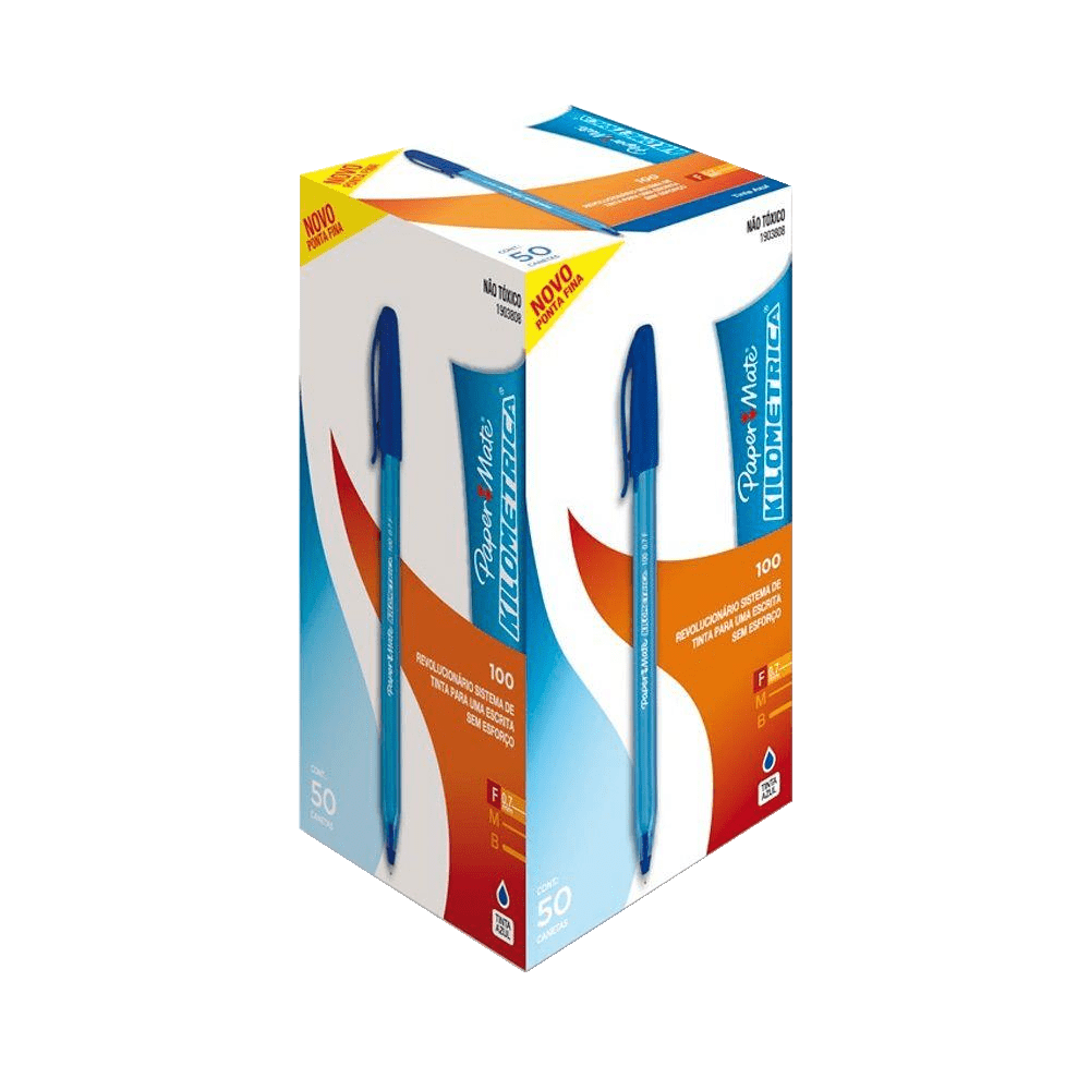 Caneta Esferográfica Fina 0.7mm Azul 50 Unidades Paper Mate Kilometrica