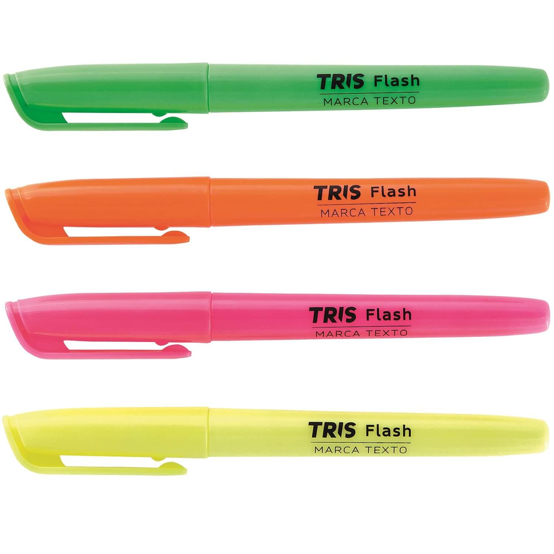 Marca-Texto Fluorescente 4 Cores Flash Tris