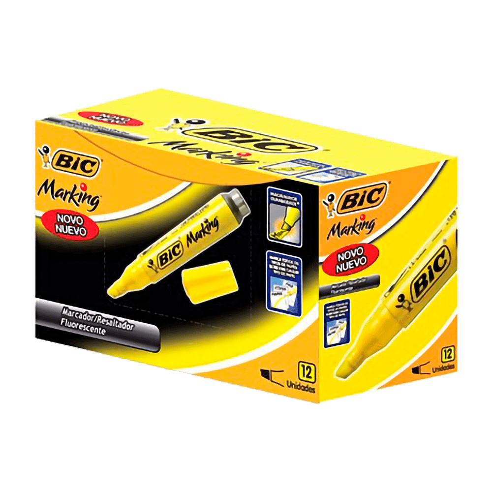 Marca-Texto Amarelo 12 Unidades Bic Marking