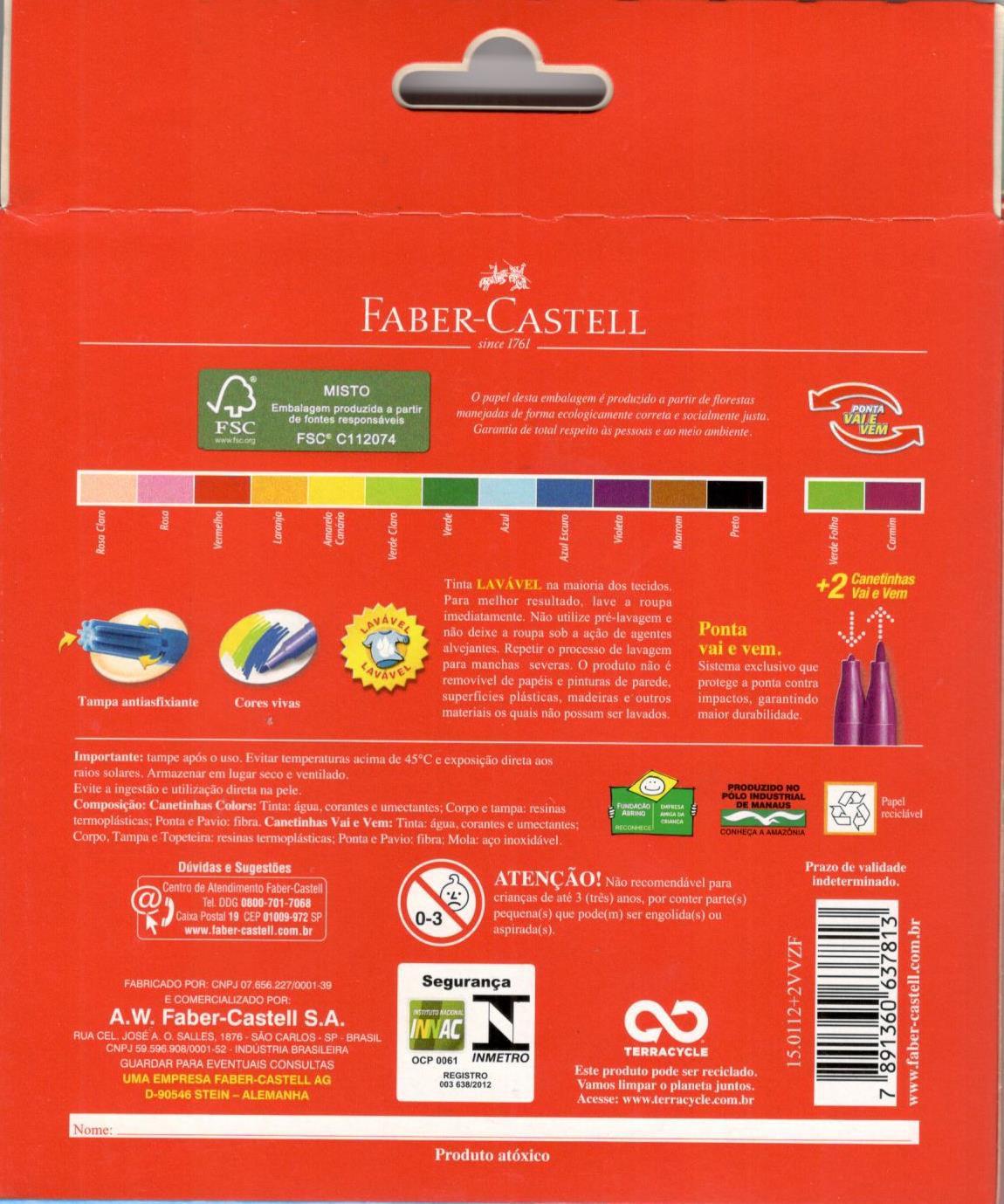 Caneta Hidrográfica 12 Cores + 2 Hidrográfica Vai E Vem Faber Castell Colors