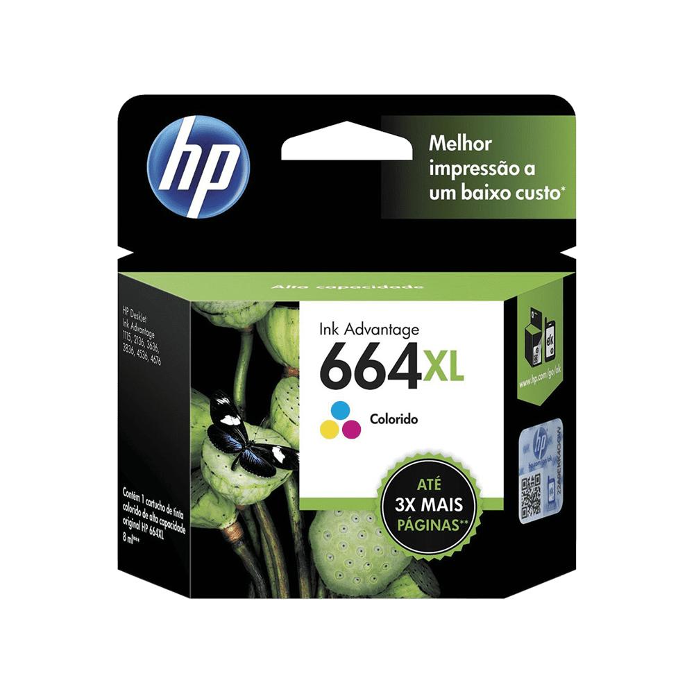 Cartucho de Tinta 8mL Colorido 664XL F6V30AB HP