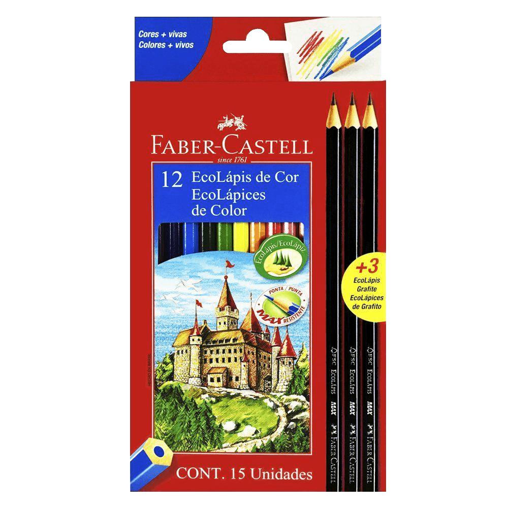 Kit Ecolápis de Cor 12 Cores + 3 Ecolápis Grafite Faber Castell