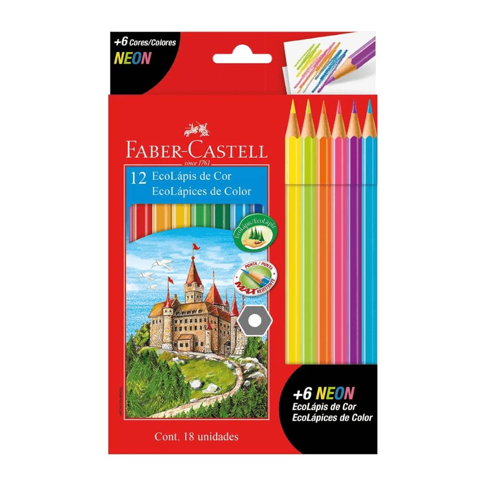 Kit Ecolápis de Cor 12 Cores + 6 Lápis de Cor Neon Faber Castell