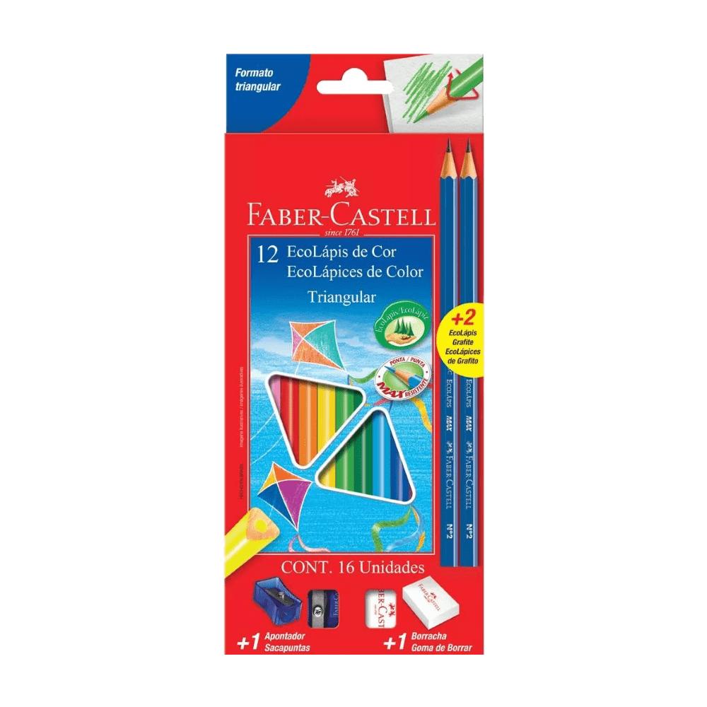 Kit Ecolápis de Cor Triangular 12 Cores Faber Castell
