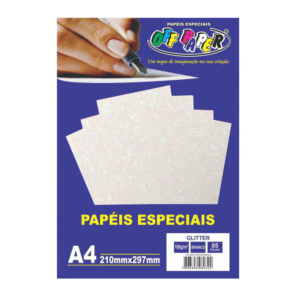 Papel Glitter A4 Branco 180g 5 Folhas Off Paper