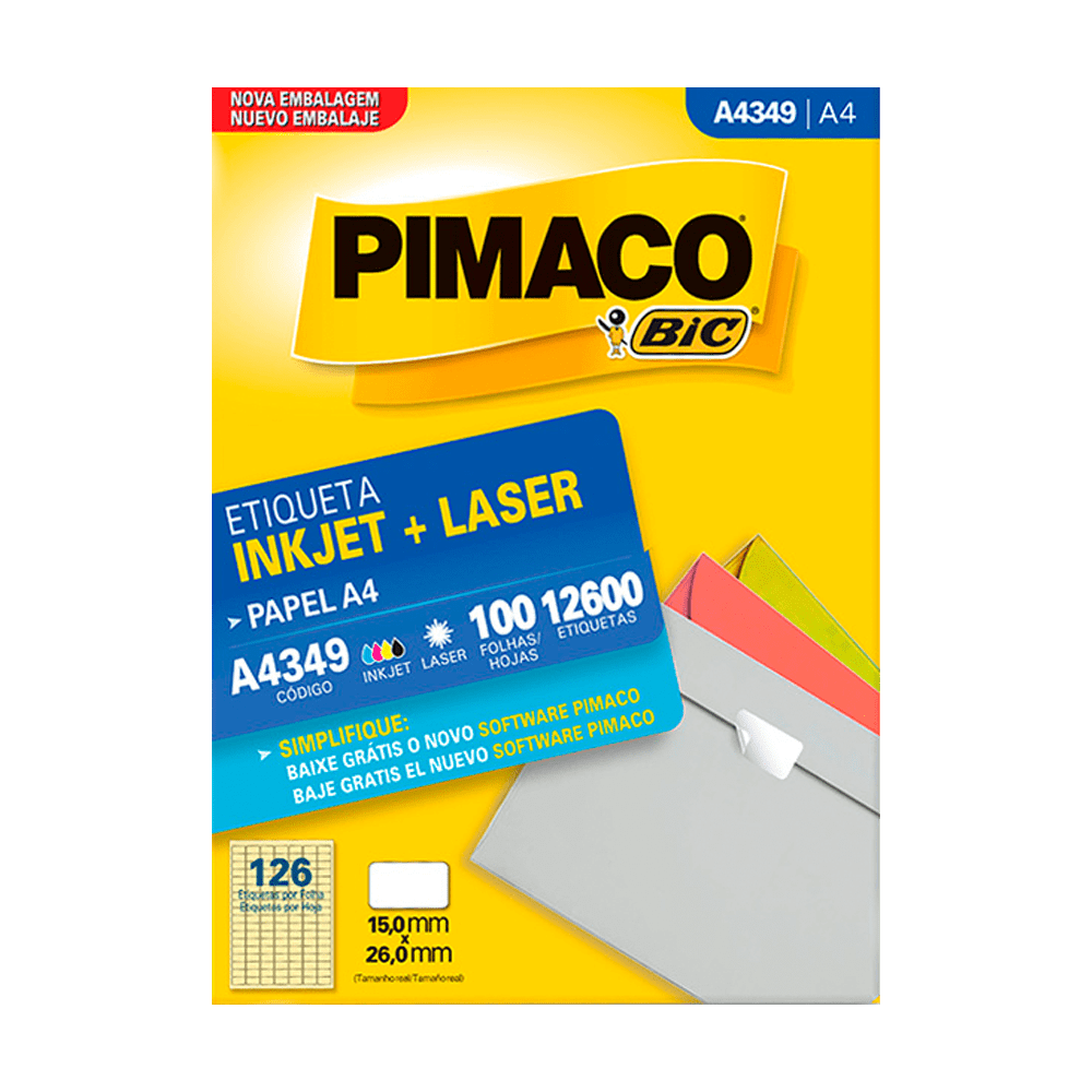 Etiqueta A4 15mm x 26mm 100 Folhas A4349 Pimaco