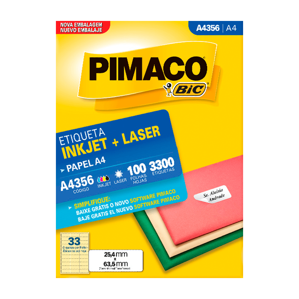 Etiqueta A4 25,4mm x 63,5mm A4356 100 Folhas Pimaco