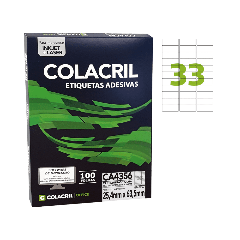 Etiqueta A4 25,4mm x 63,5mm 100 folhas CA4356 Colacril