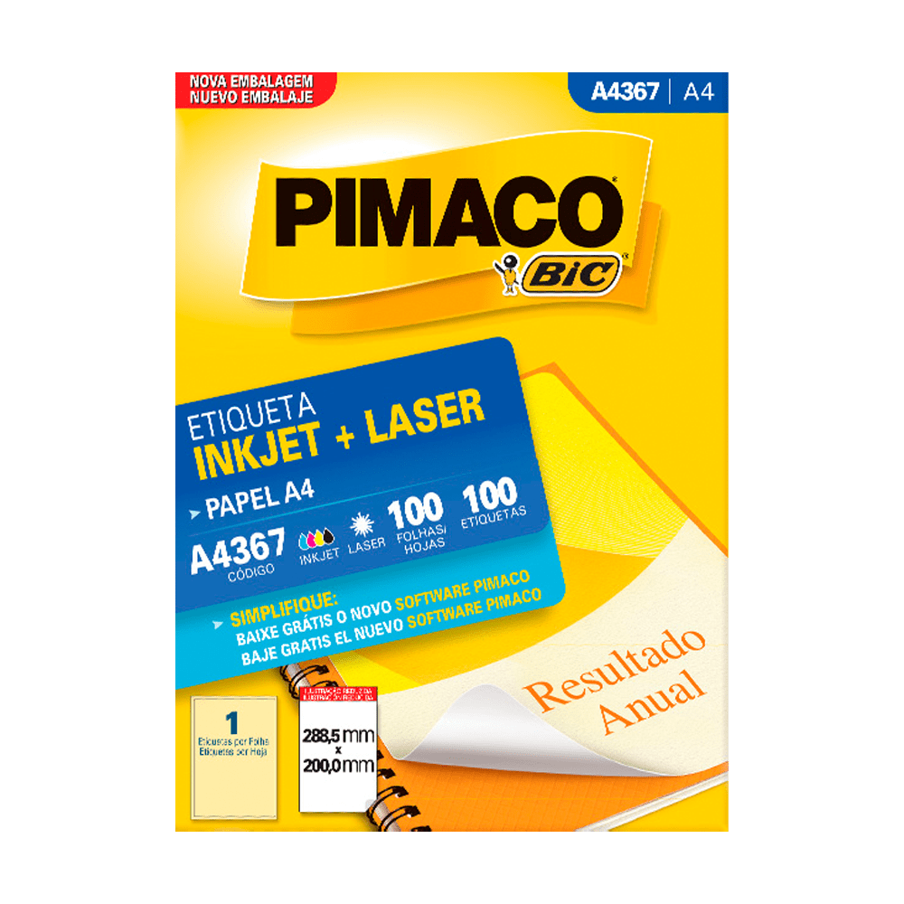 Etiqueta A4 288,5mm x 200mm 100 Folhas A4367 Pimaco