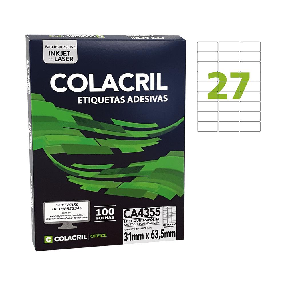 Etiqueta A4 31mm x 63,5mm 100 Folhas CA4355 Colacril