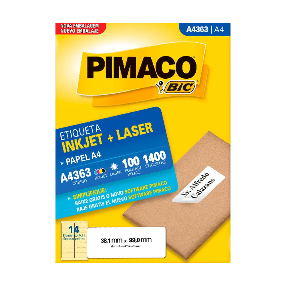 Etiqueta A4 38,1mm x 99mm 100 Folhas A4363 Pimaco
