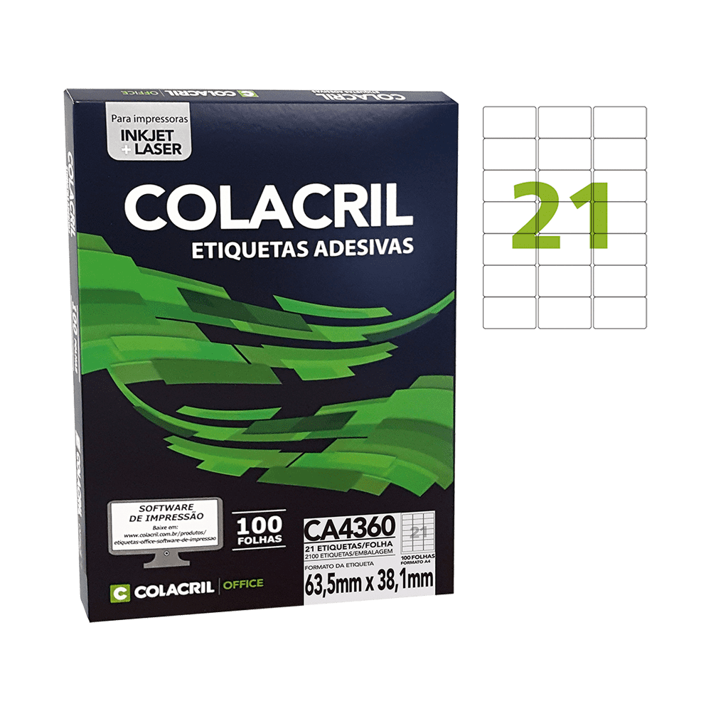 Etiqueta A4 38,1mm x 63,5mm 100 Folhas CA4360 Colacril