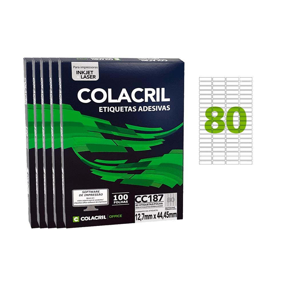 Etiqueta Carta 12,7mm x 44,45mm 100 Folhas CC187 5 Unidades Colacril