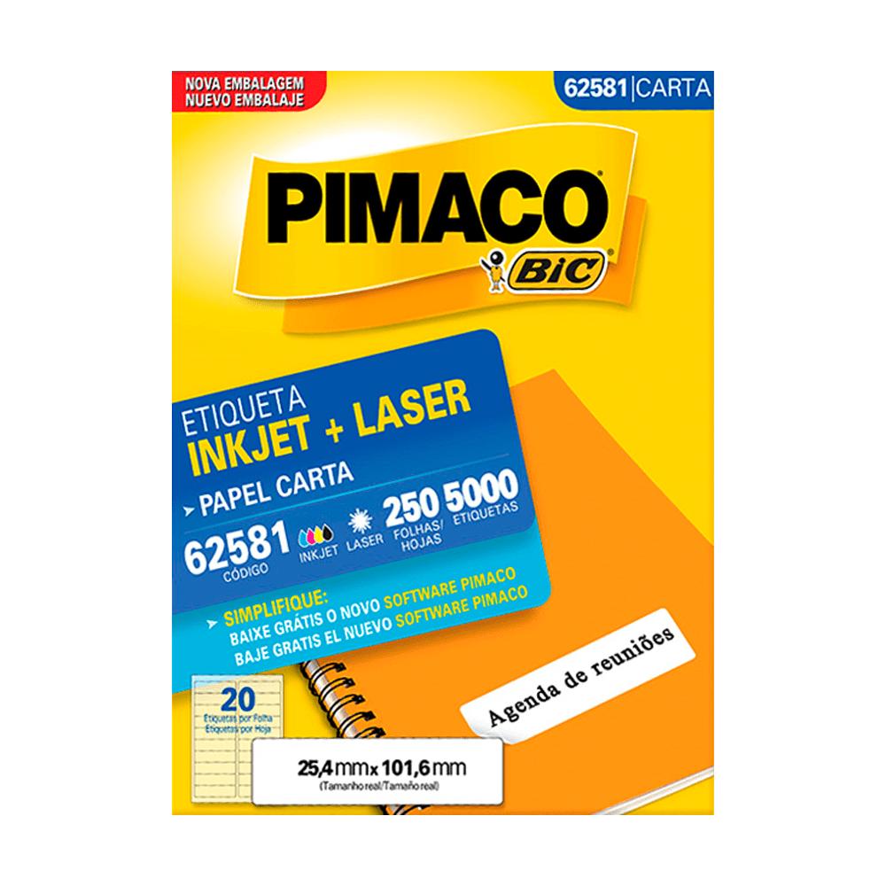 Etiqueta Carta 25,4mm x 101,6mm 250 Folhas 62581 Pimaco