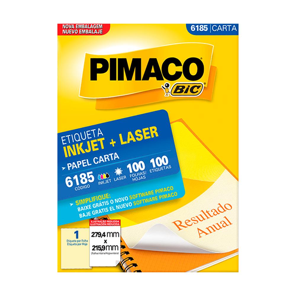Etiqueta Carta 279,4mm x 215,9mm 100 Folhas 6185 Pimaco