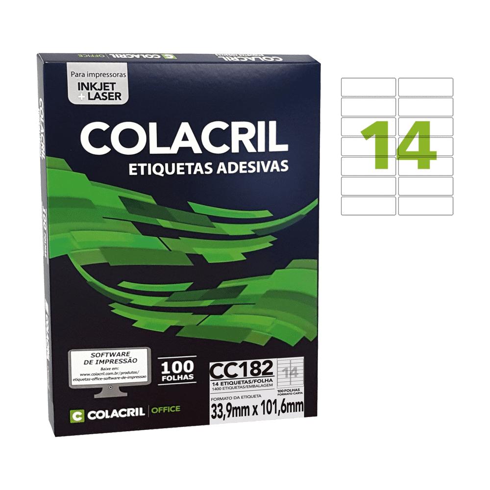 Etiqueta Carta 33,9mm x 101,6mm 100 folhas CC182 Colacril