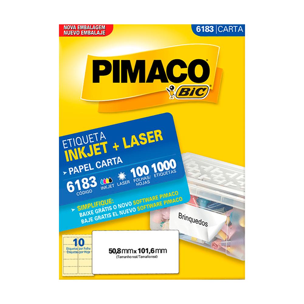 Etiqueta Carta 50,8mm x 101,6mm 100 Folhas 6183 Pimaco