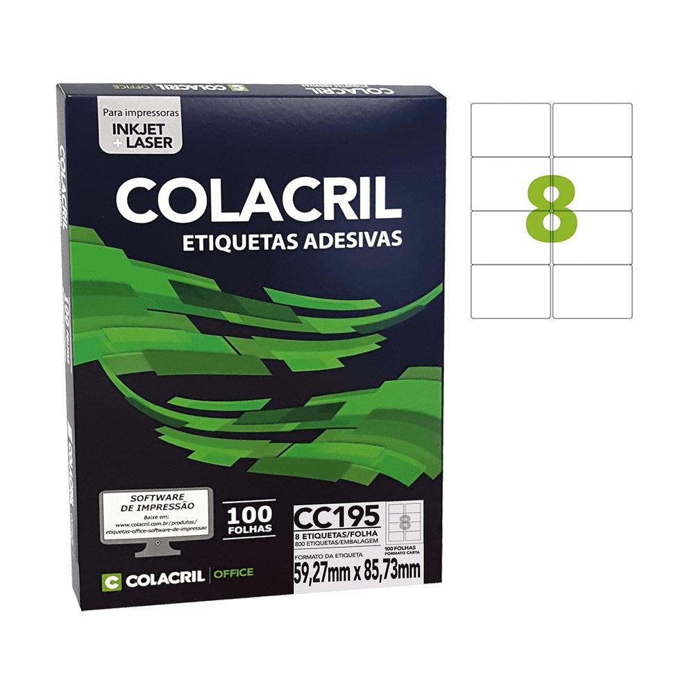 Etiqueta Carta 59,27mm x 85,73mm 100 Folhas CC195 Colacril