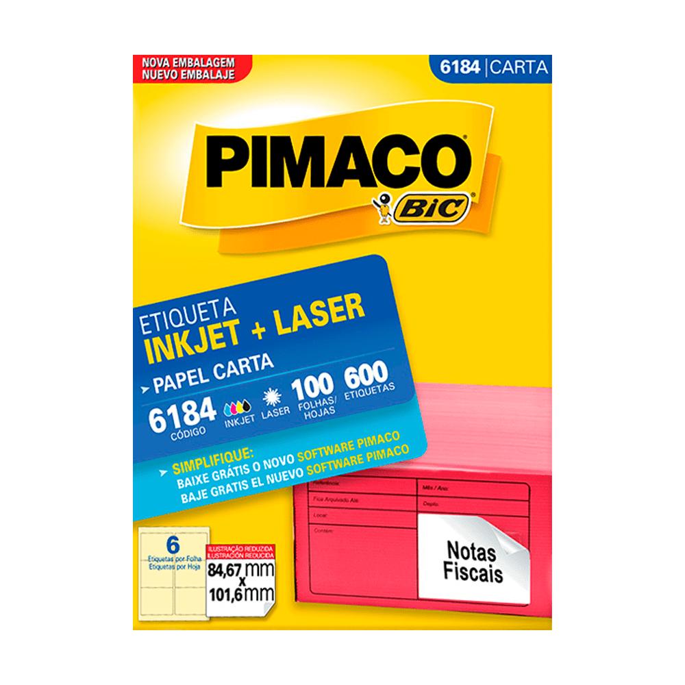 Etiqueta Carta 84,67mm x 101,6mm 100 Folhas 6184 Pimaco