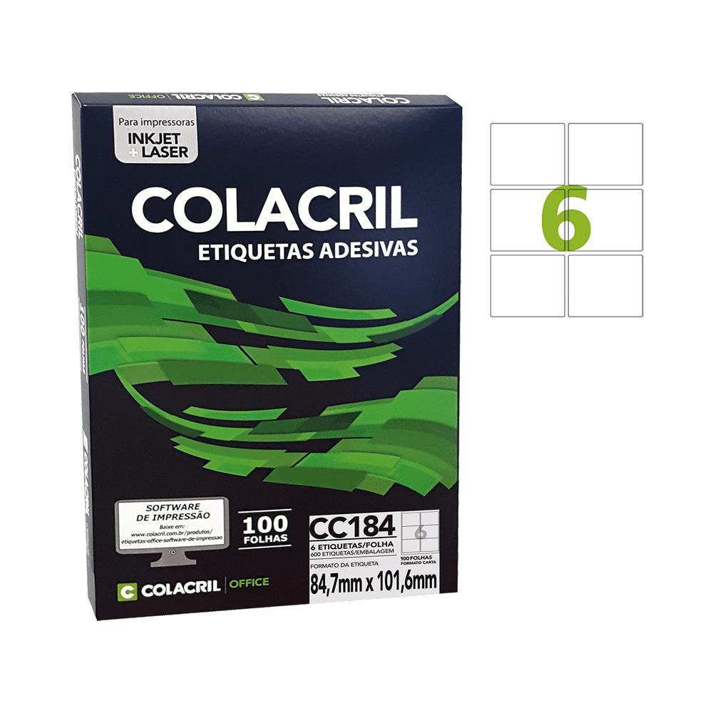 Etiqueta Carta 84,7 mm x 101,6 mm 100 Folhas CC184 Colacril
