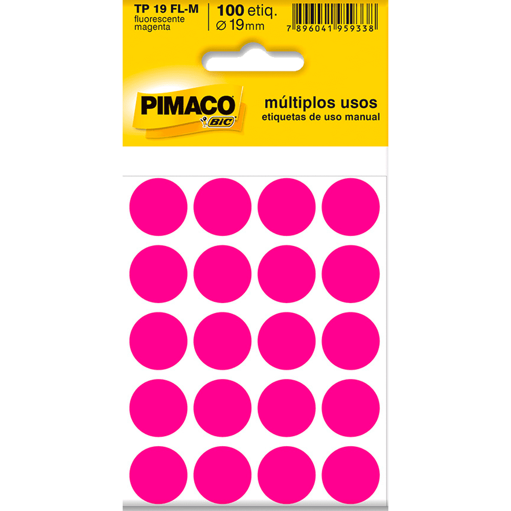 Etiqueta Multiuso Ø 19mm 5 Folhas TP19 Magenta Fluorescente Pimaco