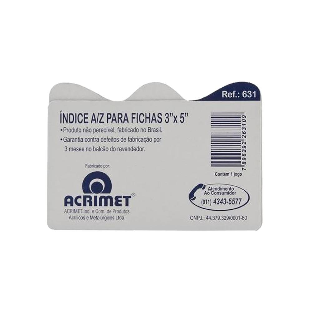 """Fichas de Índice A/Z para Fichário de Mesa 3""""x5"""" Acrimet"""