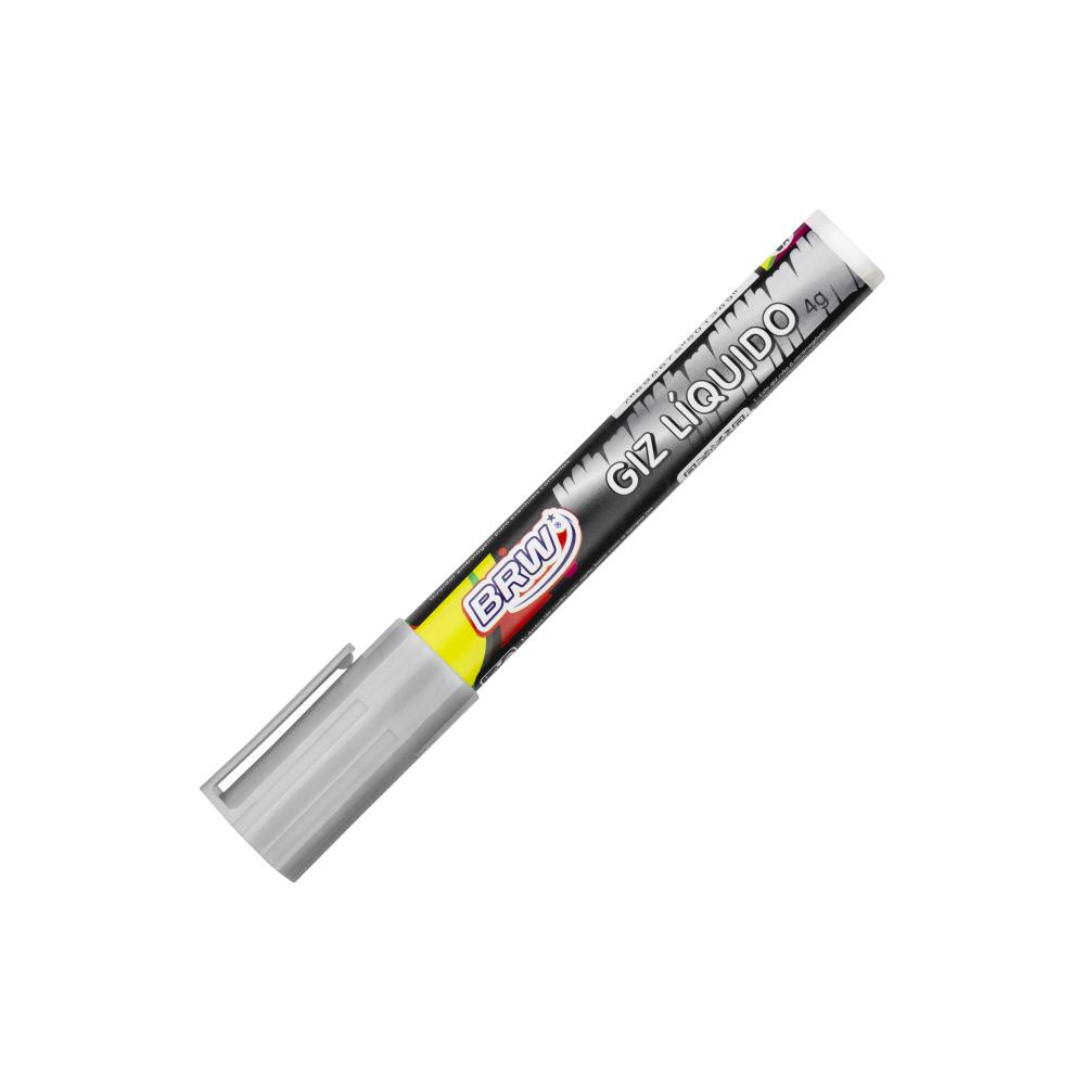 Giz Líquido Prata 4g 6mm 12 Unidades BRW