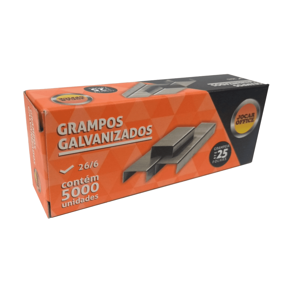 Grampo 26/6 Galvanizado 5000 Unidades Jocar Office