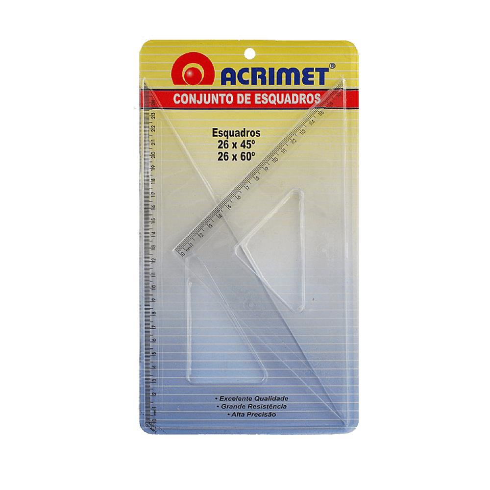 Conjunto de Esquadros 45° e 60° 26cm Acrimet